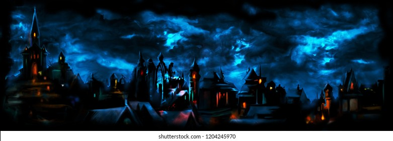 Illustration a fantasy town night scape with lights, sky with clouds on the background