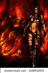 Illustration a fantasy warrior woman with a war paint. Burning medieval town in the background. Digital painting