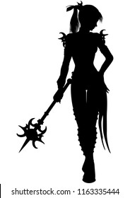Illustration a fantasy woman wizard with a magic wand