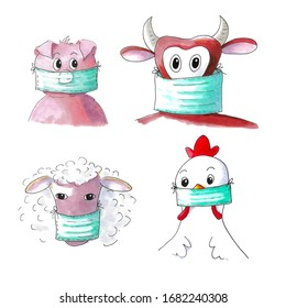 Illustration of farm animals with anti corona face masks isolated over white background