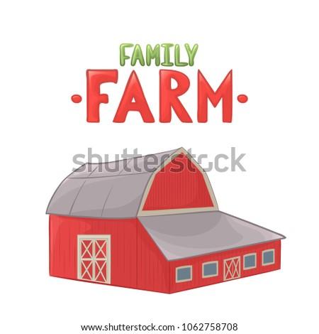 illustration farm barn color cartoon stock illustration 1062758708