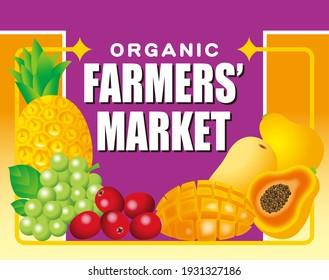 Illustration of a farmer's market sign. Flea market, farmer direct sales, supermarket advertisement, etc.