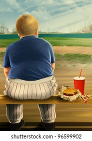 Illustration of a fat kid eating fast food.