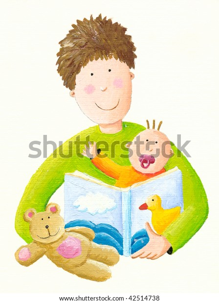 Illustration Father reading to baby