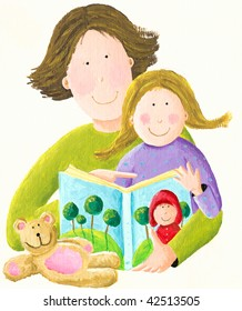 Illustration of Father reading story to his daughter