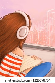 illustration featuring a girl listening to music on the roof