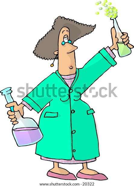 Illustration of a female chemist