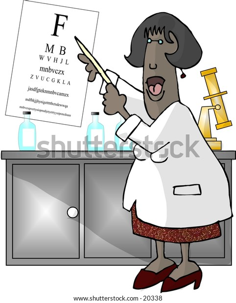 Illustration of a female eye doctor pointing to an eye chart.