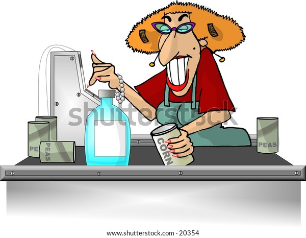 Illustration of a female grocery store checkout clerk.