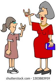 Illustration of a female hearing impaired teacher conversing with a student in American sign language.