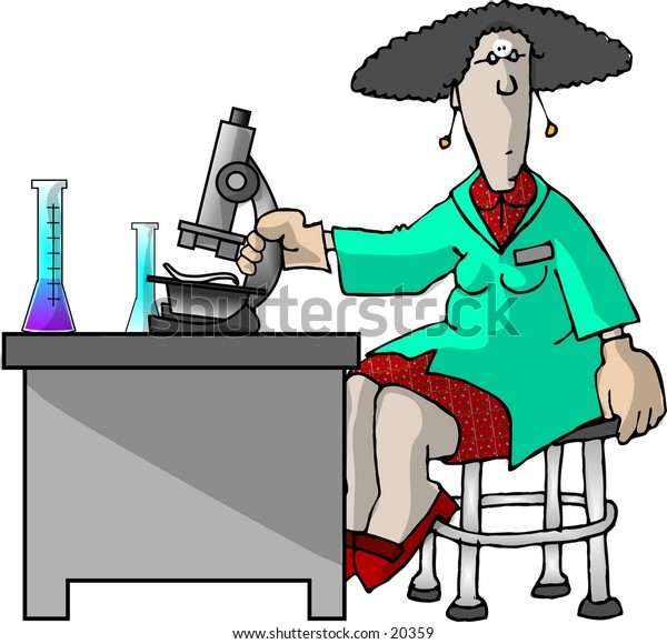 Illustration of a female lab technician.