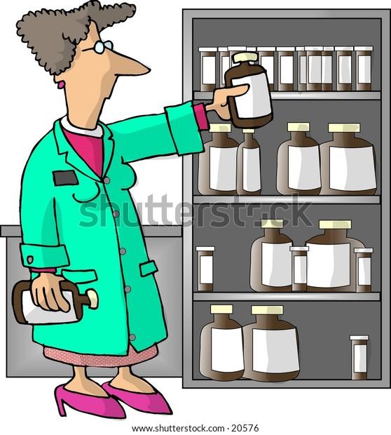 Illustration of a female pharmacist checking prescription bottles.