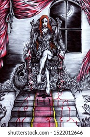 Illustration of a female vampire with ginger hair sitting on a throne, with moon out of the window and a black snake near the throne