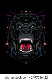 Illustration, ferocious the gorilla head with sacred geometry, angry gorilla face on black background