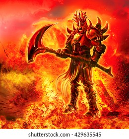 Illustration of a fiery warrior with a weapon.