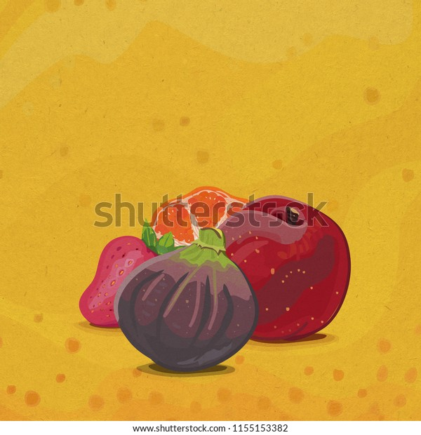 Illustration of fig, peach, strawberry and orange fruits on a yellow abstract background
