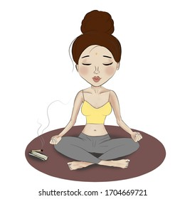 Illustration figure girl meditates / seeks harmony. The calm and the aroma of incense