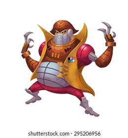 Illustration: The Final Boss, Big Warlord, Cold-Blooded Killer, Mechanical Slaughter. Element / Character Design. Crazy and Fantasy Future World Topic. Realistic / Cartoon / Fantastic / Scifi Style