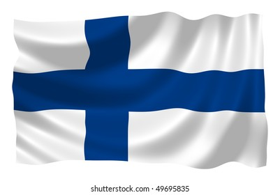 Illustration of Finland flag waving in the wind