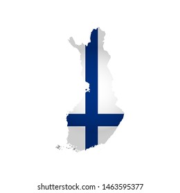 Illustration with Finnish national flag with simplified  shape of Finland map (jpg). Volume shadow on the map