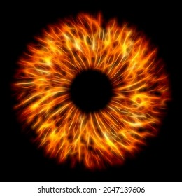 Illustration of a fire red electrify human iris on black background. Digital artwork creative graphic design.