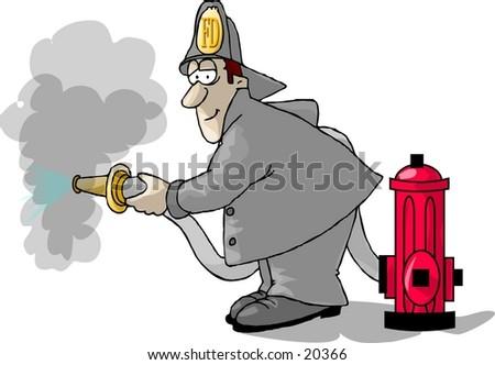 illustration fireman putting out fire stock illustration 20366