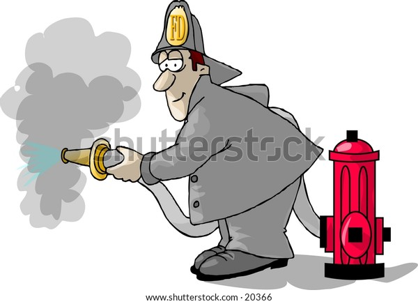 Illustration of a fireman putting out a fire.