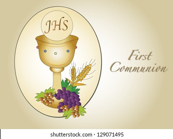illustration for first communion with chalice