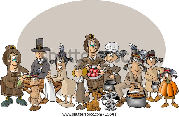 Illustration of the first Thanksgiving feast with an assortment of people.