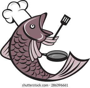 Illustration of a fish chef cook holding spatula and frying pan viewed from the side set inside on isolated white background done in cartoon style.