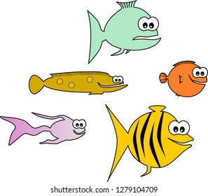 Illustration of five fishes