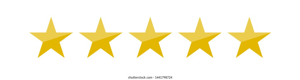 illustration of five golden yellow stars in a row - best, top quality concept graphic representation
