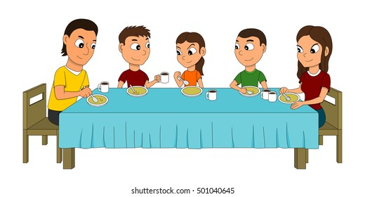 Illustration of a five members family dinning at the dinner table, eating soup, isolated on white background