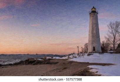Illustration of Five Mile Point Light, Lighthouse Point Park, New Haven, Connecticut