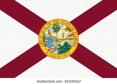 Illustration of the flag of Florida state in America looking like it is painted on a wall.