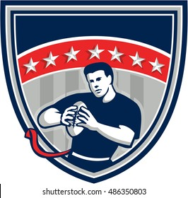 Illustration of a flag football player QB holding ball running viewed from front set inside shield crest with stars and stripes in the background done in retro style.