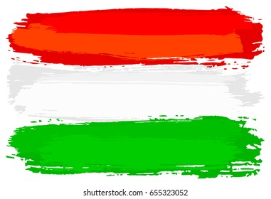 illustration of a flag of Hungary painted with brush strokes