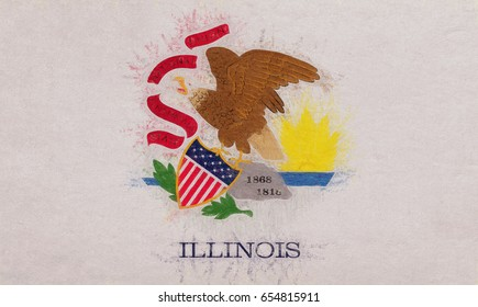 Illustration of the flag of Illinois state in America with a grunge look.