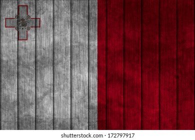 Illustration with flag in map on grunge background - Malta