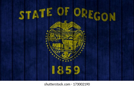 Illustration with flag in map on grunge background - Oregon