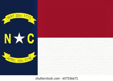 Illustration of the flag of North Carolina state in America looking like it is painted on a wall.