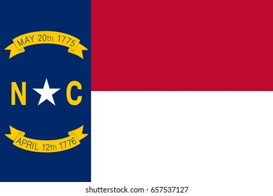 Illustration of the flag of North Carolina state in America