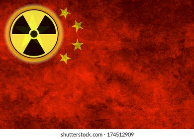 Illustration with flag on grunge background with nuclear sign - China