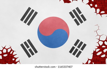 Illustration of a flag of South Korea, imitation of a painting on the cracked wall