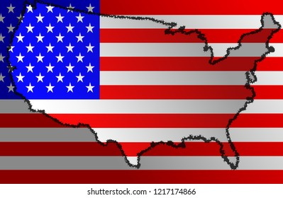 Illustration of a flag of The United States of America with a contour of its borders