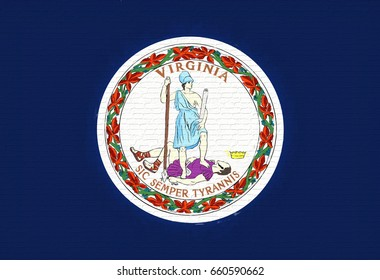 Illustration of the flag of Virginia state in America looking like it is painted on a wall.