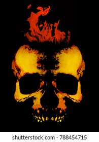 Illustration of flaming skull on black background