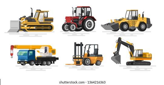 Illustration of flat construction machines