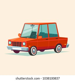 illustration of flat design cute red car. Cartoon style