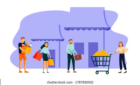 illustration, flat style, various shops, discounts, purchase of goods and gifts, investing in real estate, shopping concept
